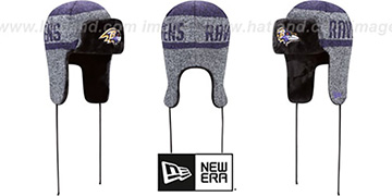 Ravens 'FROSTWORK TRAPPER' Purple Knit Hat by New Era
