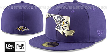 Ravens GOLD STATED METAL-BADGE Purple Fitted Hat by New Era