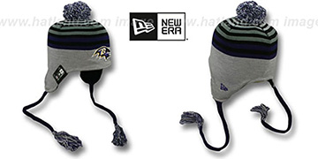 Ravens GREY STRIPETOP Knit Beanie Hat by New Era