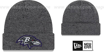 Ravens 'HEATHERED-SPEC' Grey Knit Beanie Hat by New Era