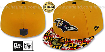 Ravens MARYLAND-FLAG Gold Fitted Hat by New Era