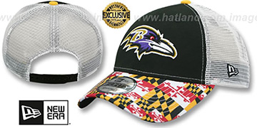 Ravens 'MARYLAND-FLAG LC 940 MESHBACK' Black-White Hat by New Era