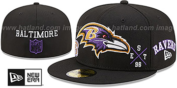Ravens 'MULTI-AROUND' Black Fitted Hat by New Era