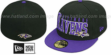 Ravens NFL 2T CHOP-BLOCK Black-Purple Fitted Hat by New Era