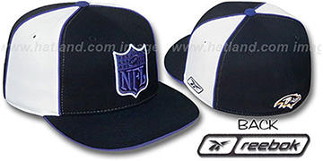 Ravens NFL SHIELD PINWHEEL Black White Fitted Hat by Reebok