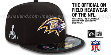 Ravens NFL SUPER BOWL XLVII ONFIELD Black Fitted Hat by New Era