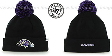 Ravens POMPOM CUFF Black Knit Beanie Hat by Twins 47 Brand