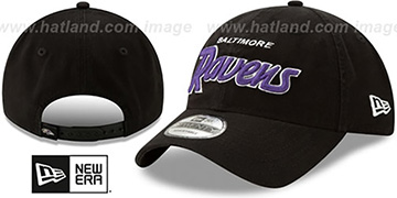 Ravens RETRO-SCRIPT SNAPBACK Black Hat by New Era