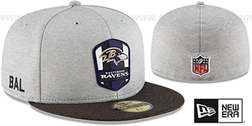 Ravens ROAD ONFIELD STADIUM Grey-Black Fitted Hat by New Era