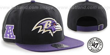 Ravens SUPER-SHOT STRAPBACK Black-Purple Hat by Twins 47 Brand