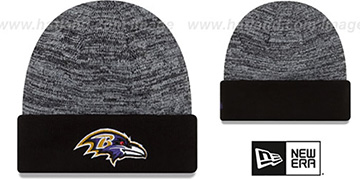 Ravens 'TEAM-RAPID' Black-White Knit Beanie Hat by New Era