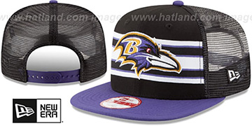Ravens 'THROWBACK-STRIPE SNAPBACK' Black-Purple Hat by New Era