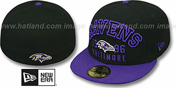 Ravens 'WORD-KNOCK' Black-Purple Fitted Hat by New Era