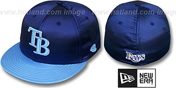 Rays '2T SATIN CLASSIC' Navy-Sky Fitted Hat by New Era