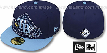 Rays 'NEW MIXIN' Navy-Sky Fitted Hat by New Era