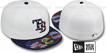 Rays 'STARS N STRIPES' White-Navy Hat by New Era