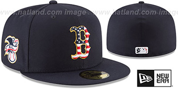 Red Sox 2018 JULY 4TH STARS N STRIPES Navy Fitted Hat by New Era