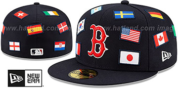 Red Sox 'ALL-OVER COUNTRY FLAGS' Navy Fitted Hat by New Era