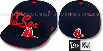 Red Sox BIG-SCRIPT Navy Fitted Hat by New Era