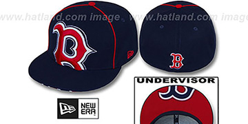 Red Sox BIG-UNDER Navy Fitted Hat by New Era
