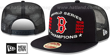 Red Sox CHAMPIONS TRUCKER SNAPBACK Navy Hat by New Era