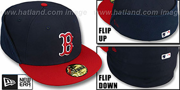 Red Sox CLEAN CUT FLIP-DOWN Navy-Red Fitted Hat by New Era