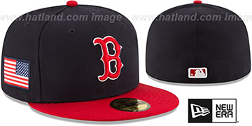 Red Sox COUNTRY COLORS Navy-Red Fitted Hat by New Era
