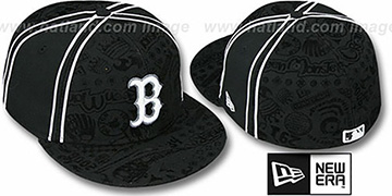 Red Sox 'DUAL-PIPED INKED' Black Fitted Hat by New Era