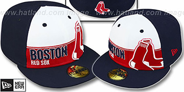 Red Sox 'FOUL BALL' White-Navy Fitted Hat by New Era