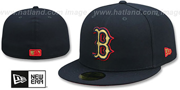 Red Sox GOLD METALLIC STOPPER Navy Fitted Hat by New Era