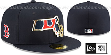 Red Sox GOLD STATED INSIDER Navy Fitted Hat by New Era