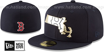Red Sox GOLD STATED METAL-BADGE Navy Fitted Hat by New Era