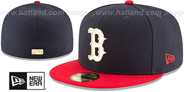 Red Sox GOLDEN-BADGE Navy-Red Fitted Hat by New Era