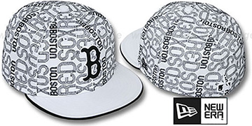 Red Sox GOOD TIMES ALL-OVER White-Black Fitted Hat by New Era