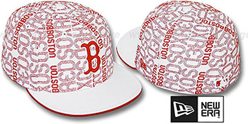 Red Sox GOOD TIMES ALL-OVER White-Red Fitted Hat by New Era