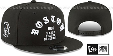 Red Sox 'GOTHIC-ARCH SNAPBACK' Black Hat by New Era