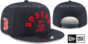 Red Sox 'GOTHIC-ARCH SNAPBACK' Navy Hat by New Era