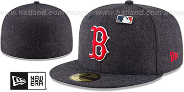 Red Sox 'HEATHERED-PIN' Navy Fitted Hat by New Era