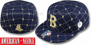 Red Sox KINGSTON ALL-OVER Navy-Tan Fitted Hat by American Needle