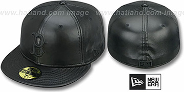 Red Sox 'LEATHER BLACKOUT' Fitted Hat by New Era