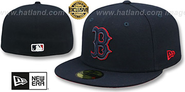 Red Sox 'LEATHER POP' Navy Fitted Hat by New Era
