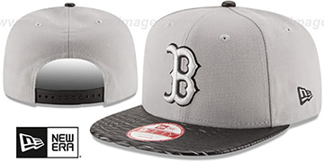 Red Sox 'LEATHER-RIP SNAPBACK' Grey-Black Hat by New Era