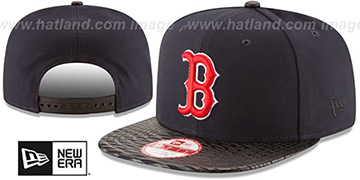 Red Sox LEATHER-RIP SNAPBACK Navy-Black Hat by New Era