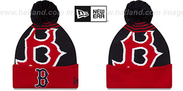Red Sox LOGO WHIZ Navy-Red Knit Beanie Hat by New Era