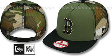 Red Sox 'MESHED CAMO SNAPBACK' Army-Black Hat by New Era