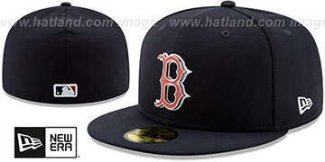 Red Sox METAL-N-THREAD Navy Fitted Hat by New Era
