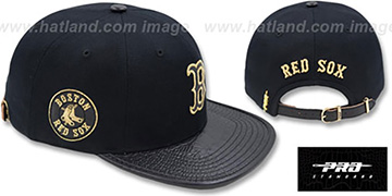 Red Sox 'METALLIC POP STRAPBACK' Black Hat by Pro Standard