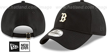 Red Sox 'MINI GOLD METAL-BADGE STRAPBACK' Black Hat by New Era