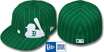 Red Sox 'MLB SILHOUETTE PINSTRIPE' Green-White Fitted Hat by New Era