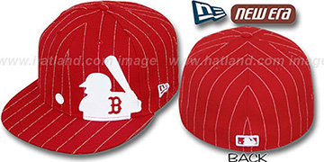 Red Sox 'MLB SILHOUETTE PINSTRIPE' Red-White Fitted Hat by New Era